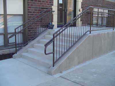 Stair rail with hand rail meeting ADA code